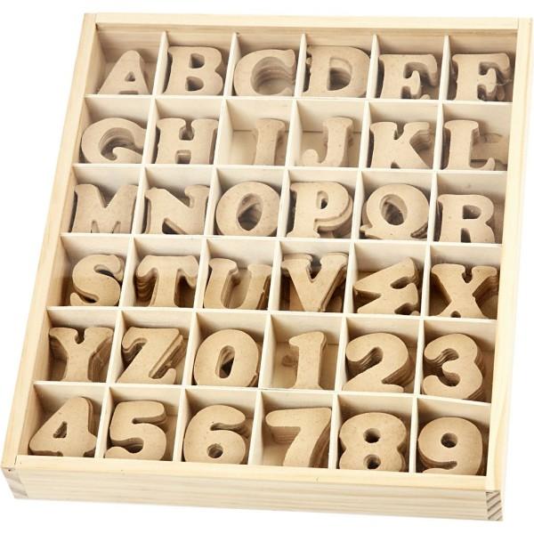Lot de lettres et chiffres en bois - 4 cm - 288 pcs - Photo n°1
