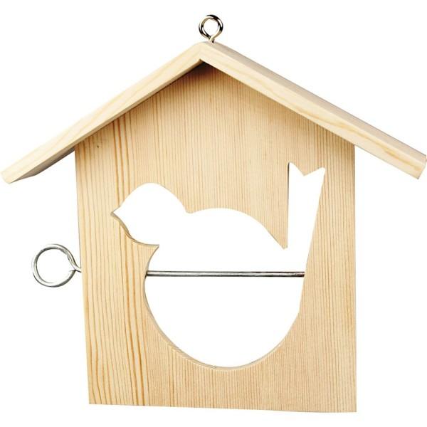 Mangeoire pour oiseaux en bois - 19 x 21 cm - Photo n°1