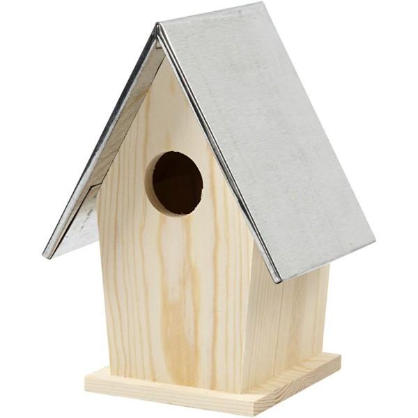 Nichoir en bois et toit en zinc - 13,5 x 11 x 19 cm - Photo n°1