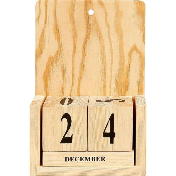 Calendrier perpétuel en bois - 13 x 5,5 x 19 cm - 1 set de 4 pcs - Photo n°1