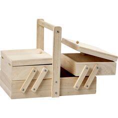 Boîte à couture en bois - 14 x 16,3 x 19 cm