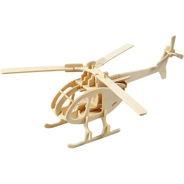 Puzzle 3D en bois à monter - Hélicoptère - 14 x 26 x 26,5 cm - Photo n°1