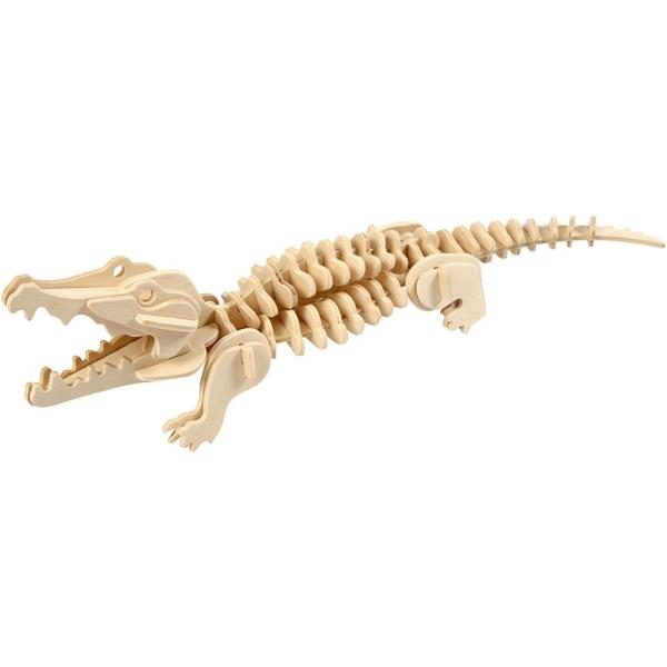 Puzzle 3D en bois à monter - Crocodile - 10 x 10 x 30 cm - Photo n°1