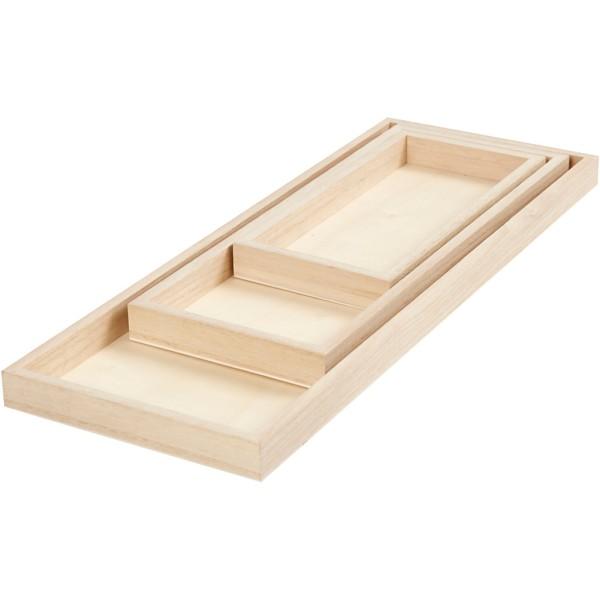 Chassis rectangulaires 3D en bois à décorer - 20, 30 et 40 cm - 3 pcs - Photo n°1