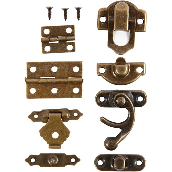 Set serrures et charnières métalliques - 15 pcs - Photo n°1