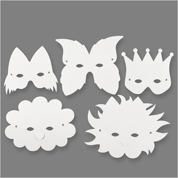 Masques fantaisie à décorer - 15 à 20 cm - 5 pcs - Photo n°1