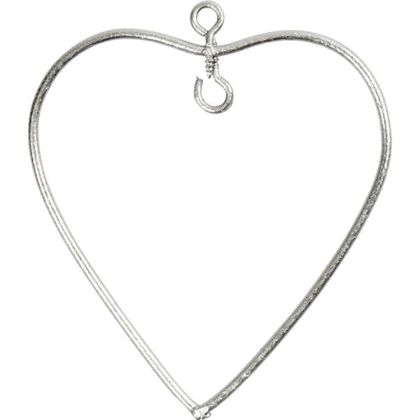 Suspension coeur en métal - 6 x 6,5 cm - 6 pcs - Photo n°1