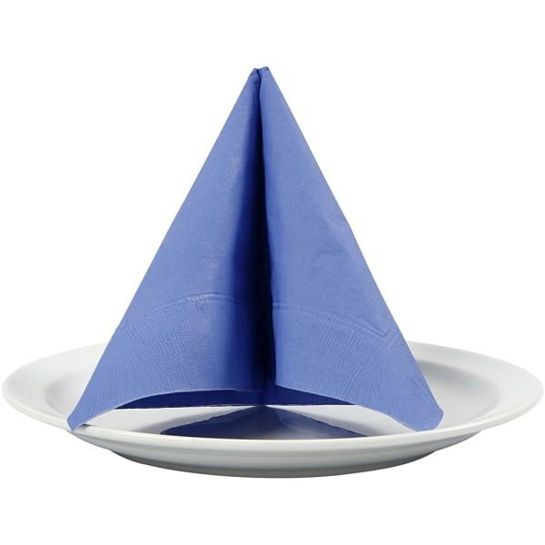 Serviettes en papier - Bleu - 33 x 33 cm - 20 pcs - Photo n°1