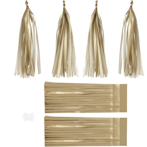 Pompons en papier de soie doré - 12 x 35 cm - 12 pcs - Photo n°1