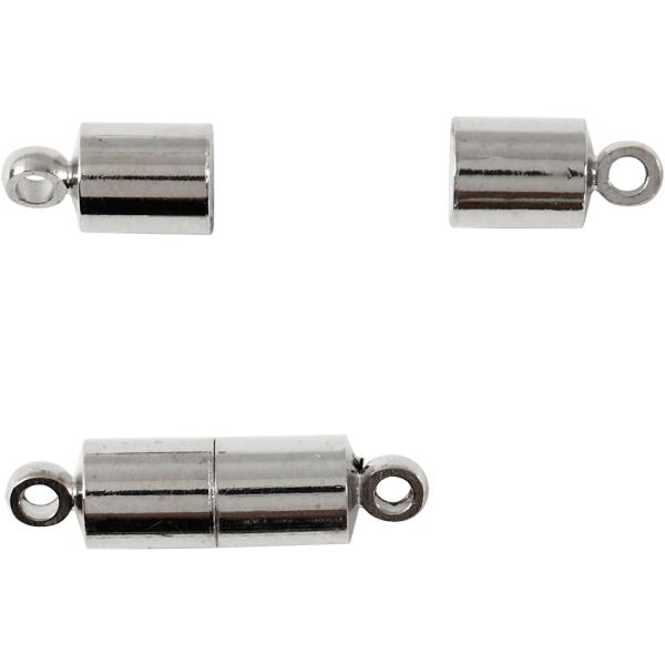 Fermoirs magnétiques 17 x 5 mm - Argenté - 10 pcs - Photo n°1