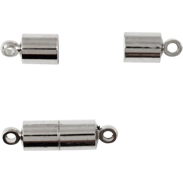 Fermoirs magnétiques 17 x 5 mm - Argenté - 2 pcs - Photo n°1