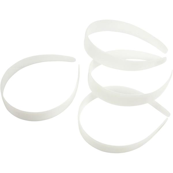 Diadèmes blancs 25 mm à décorer - 5 pcs - Photo n°1