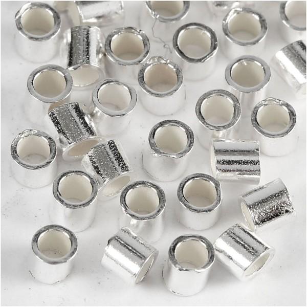 Embouts tubes à pincer 2 mm - Argenté - 50 pcs - Photo n°1
