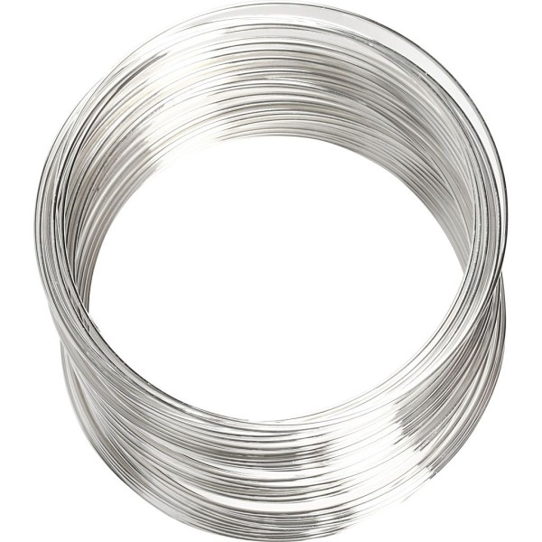 Bracelet spirale argenté - 0,8 mm x 6 cm - Photo n°1