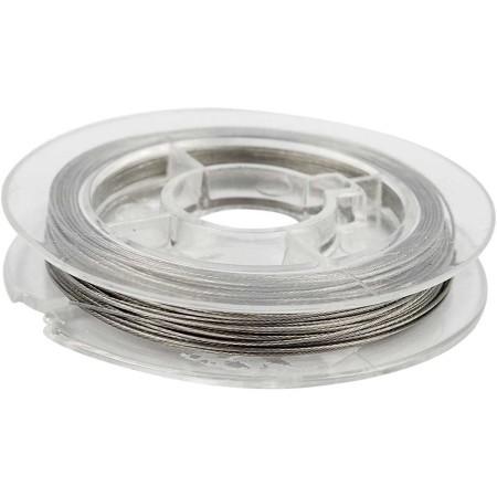 Fil à perles argenté 0,38 mm - 7 brins - 10 m
