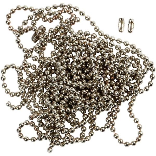 Chaîne à boules - Gris argenté - 1,5 mm x 3 m - Photo n°1