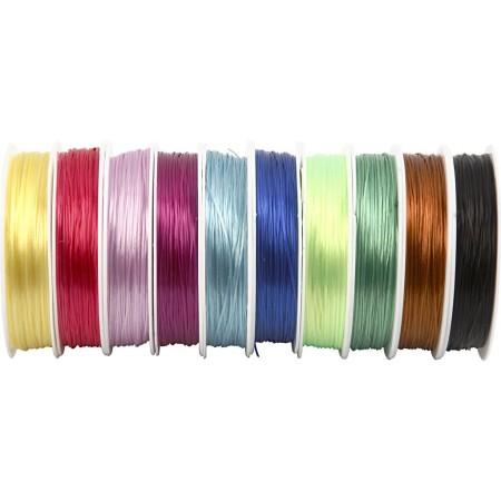 Assortiment de fil élastique - 1 mm x 25 m - 10 pcs