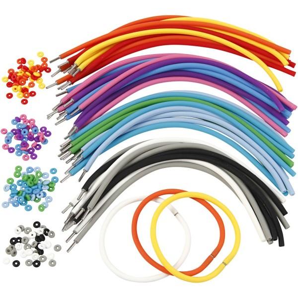 Bracelets - Assortiment, L: 20 cm, ép. 4 mm, 48 sets, Couleurs assorties - Photo n°1