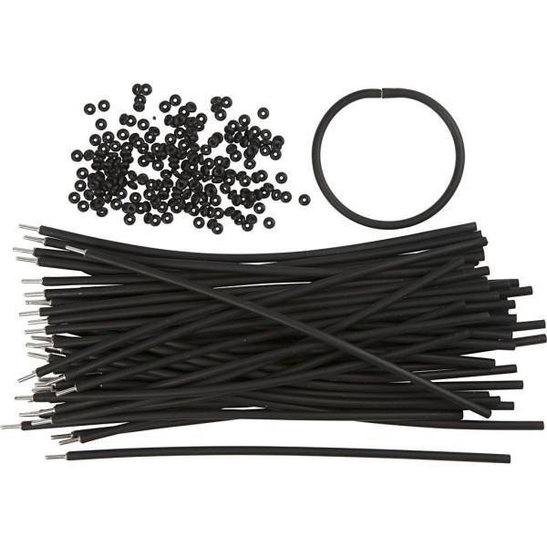 Bracelets - Assortiment, L: 20 cm, ép. 4 mm, 48 sets, noir - Photo n°1
