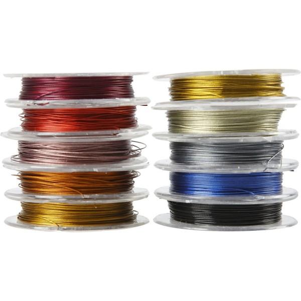 Assortiment de fils métalliques pour bijoux 0,38 mm - 10 x 10 m - Photo n°1
