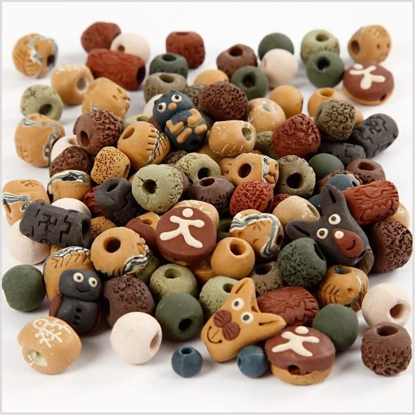 Perles en céramique, dim. 7-18 mm, diamètre intérieur 2-4 mm, 300 gr, Couleurs assorties - Photo n°1