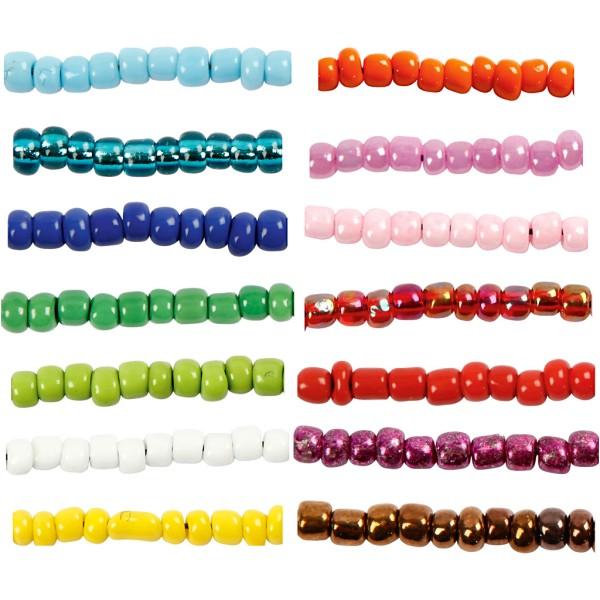 Assortiment de Perles de rocaille - Dim. 8/0 - 14 couleurs - Photo n°1