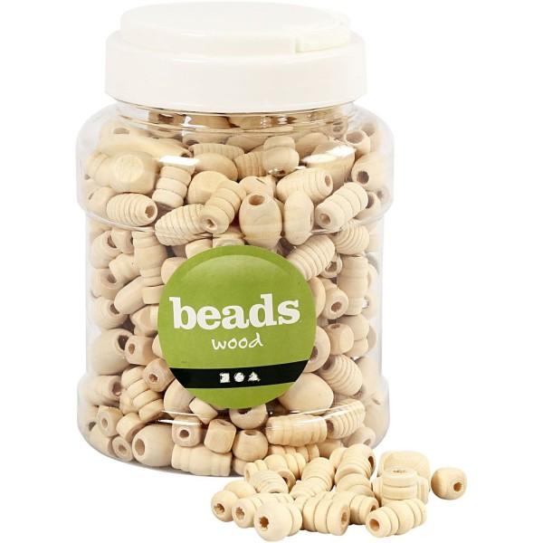 Assortiment de perles en bois - 5 à 28 mm - 330 pcs environ - Photo n°1