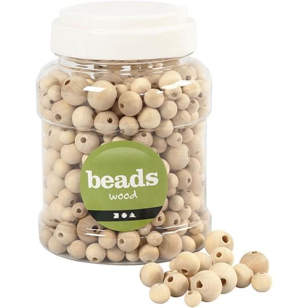Assortiment de perles en bois rondes - 8 à 15 mm - 350 pcs environ - Photo n°1