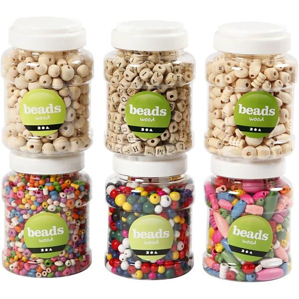 Perles en bois, d: 5-25 mm, 6x400 ml - Photo n°1