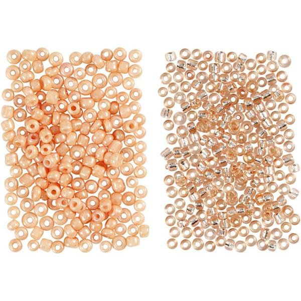 Assortiment de perles de rocaille - Pêche et pêche clair - 1,7 mm - 2 x 7 gr - Photo n°1
