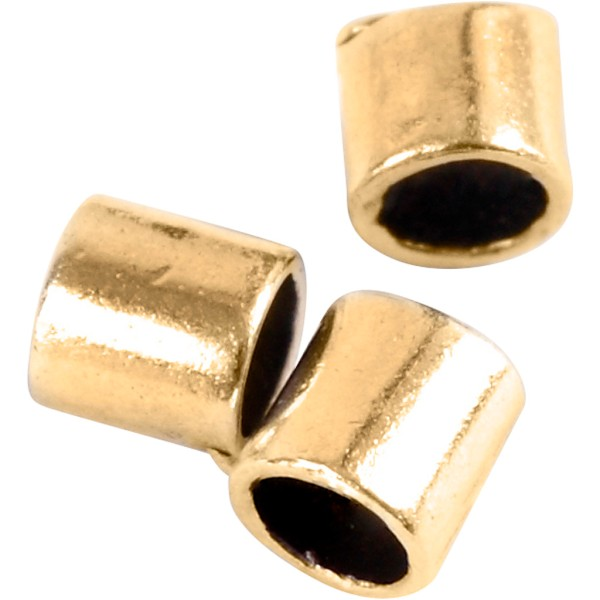 Perles à écraser cylindriques - Doré - 2 mm - 80 pcs - Photo n°1