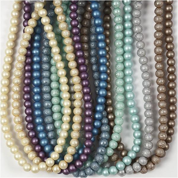 Chapelets de perles en verre couleurs métalliques - 8 mm - 10 pcs - Photo n°1