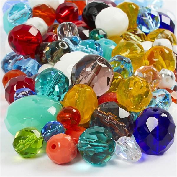 Assortiment de perles à facettes colorées - 3 à 15 mm - 450 pcs - Photo n°1
