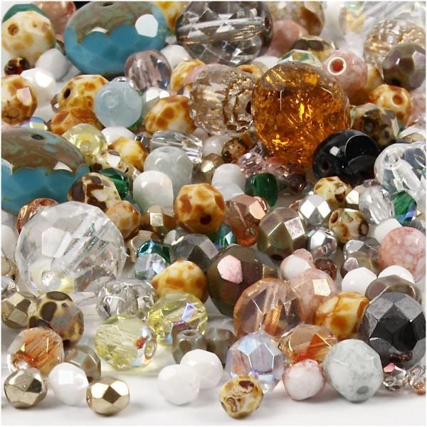 Mix de perles à facettes, dim. 3-15 mm, diamètre intérieur 0,5-1,5 mm, 400 gr, multicolore - Photo n°1