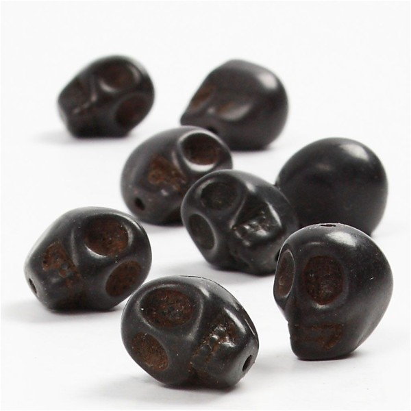 Perles howlite - Tête de mort - Noir - 12 mm - 32 pcs - Photo n°1