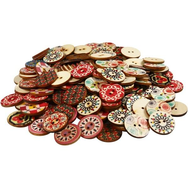 Boutons en bois décorés - 9 motifs - 20 mm - 180 pcs - Photo n°1