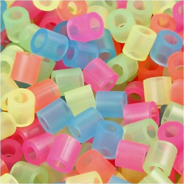 Assortiment de perles à repasser - couleurs fluos - 5 x 5 mm - 6000 pcs - Photo n°1