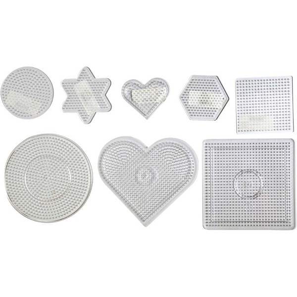Assortiment de plaques pour perles à repasser Midi - 8 designs - 7 à 15 cm - 8 pcs - Photo n°1