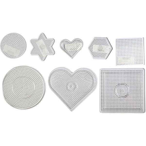 Assortiment de plaques pour perles à repasser Midi - Transparent - 7 à 15 cm - 8 pcs - Photo n°1
