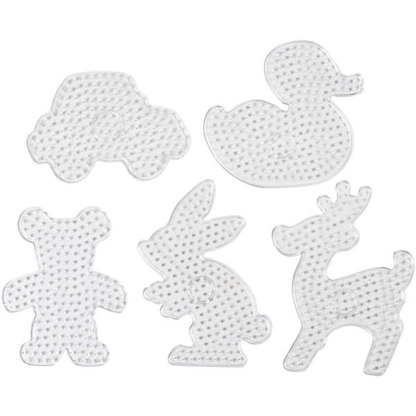 Assortiment de plaques pour perles à repasser Maxi Animaux - 5 designs - 16 à 24 cm - 5 pcs - Photo n°1