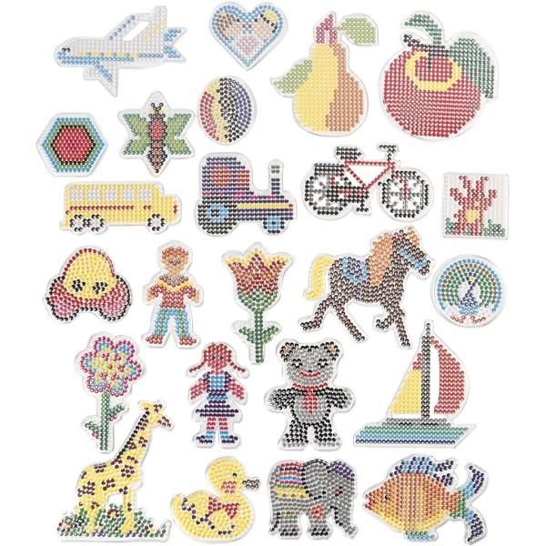 Assortiment de plaques colorées pour perles à repasser Midi - 6 designs - 7 à 16 cm - 24 pcs - Photo n°1