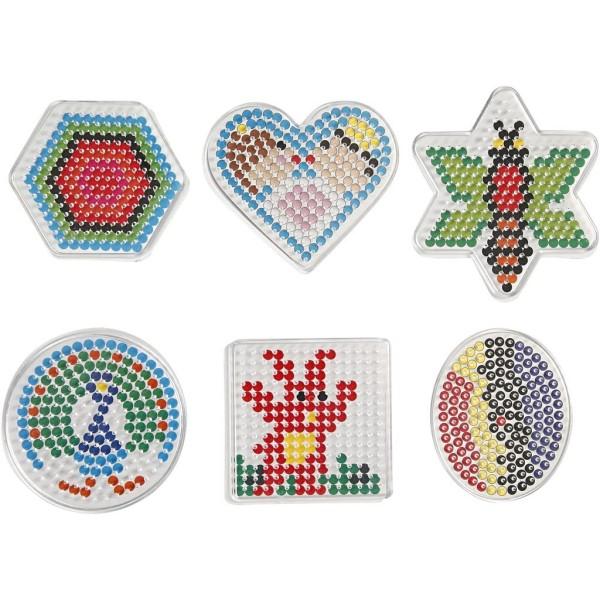 Assortiment de plaques colorées pour perles à repasser Midi - 6 designs - 7 à 10,5 cm - 6 pcs - Photo n°1