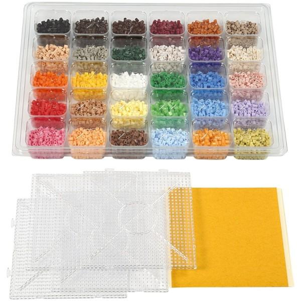 Kit perles à repasser - 7 500 perles avec plaques et feuilles autocollantes - Photo n°2