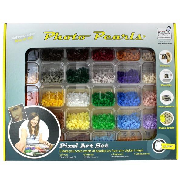 Kit perles à repasser - 7 500 perles avec plaques et feuilles autocollantes - Photo n°1