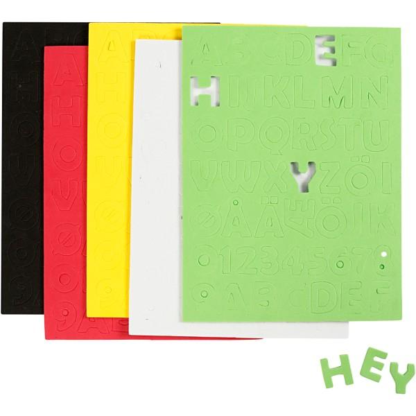 Alphabet autocollant - Papier mousse 2 mm - Couleurs assorties - 5 pcs - Photo n°1