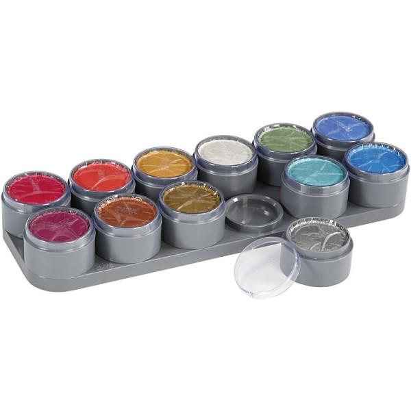 Palette de maquillage à l'eau - Couleurs nacrées - 12 x 15 ml - Photo n°1