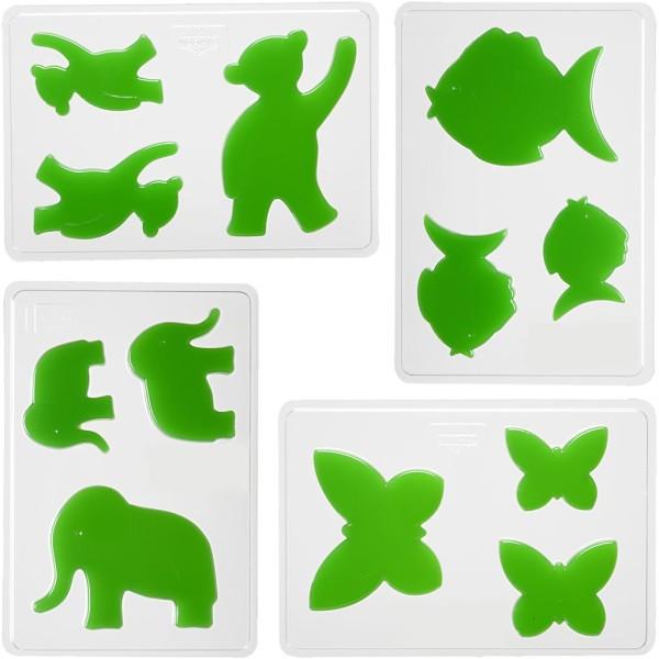Moules décoratifs, dim. 6+8+10 cm, dim 14,9x22 cm, 4 assortis - Photo n°1