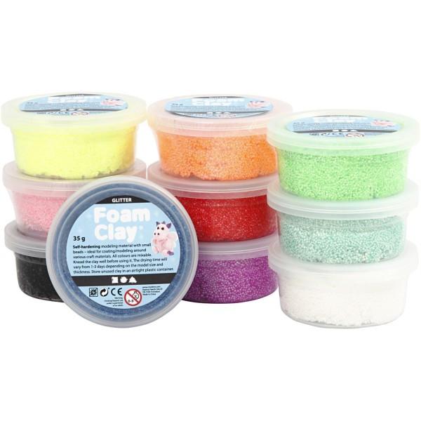 Assortiment pâte à modeler autodurcissante Foam Clay Glitter - Pailletées - 10 pcs - Photo n°1