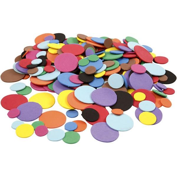 Lot de cercles en papier mousse EVA - Couleurs assorties - 12, 20 et 32 mm - 300 pcs - Photo n°1