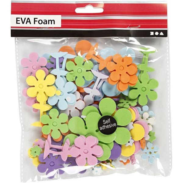 Lot de fleurs en papier mousse EVA - Couleurs assorties - 10 à 60 mm - 100 pcs - Photo n°2